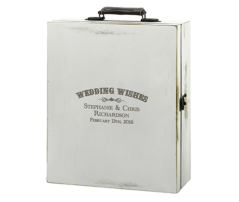 Personalized Wood Wedding Wishes Antique Wine Box