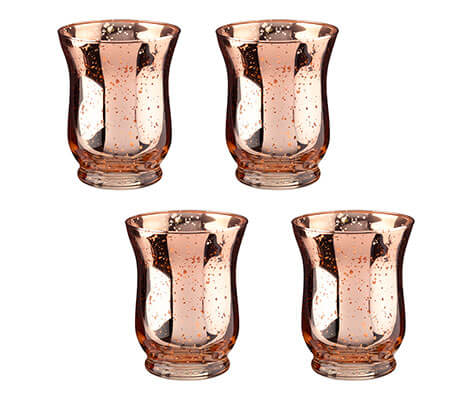 Copper Mercury Tulip Shaped Glass Votive or Tea light Holders in Set of 4