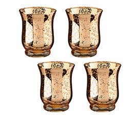 Gold Mercury Tulip Shaped Glass Votive or Tea light Holders in Set of 4
