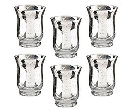 Silver Mercury Tulip Shaped Glass Votive or Tea light Holders Set of 6