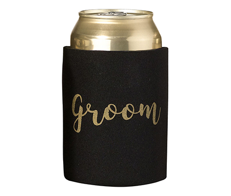 Black and Gold Groom Cozy