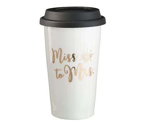 """Miss to Mrs."" Ceramic Travel Mug"