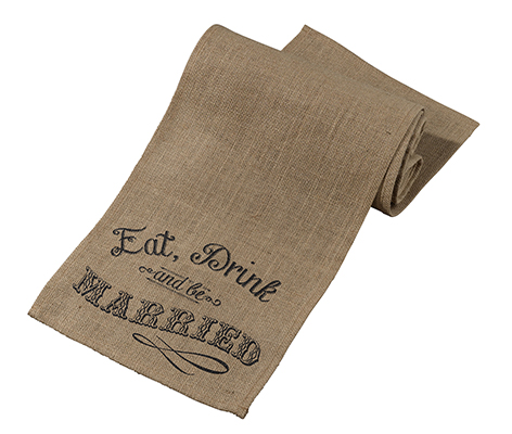 Rustic Eat Drink Be Married Burlap Table Runner