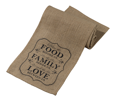 Rustic Food and Family Burlap Table Runner