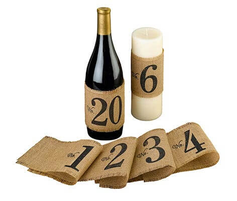 Rustic Burlap Table Number Bottle Wraps