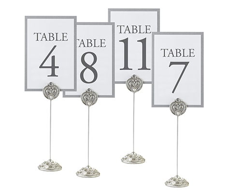 Silver Wedding Reception Table Number Holders
