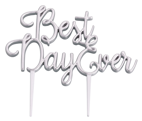 Silver Best Day Ever Wedding Cake Topper