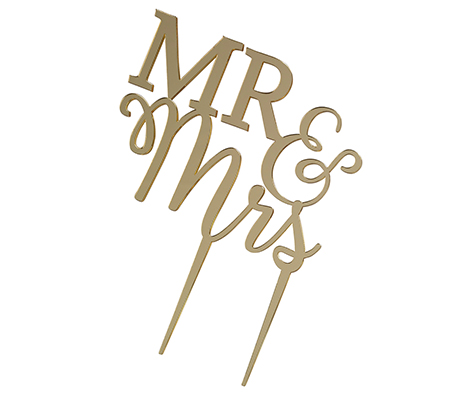 Cake Topper, Cake Pick, Cake Decorations, Wedding Cake Toppers, Awesome Cake toppers, Anniversary, Metallic Paint, metallic gold Mr. & Mrs. cake topper, simple yet elegant gold, CT310-MM