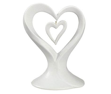 White Dangling Double Heart Wedding Cake Topper