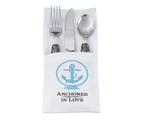 Coastal Beach Wedding Anchor Silverware Holder