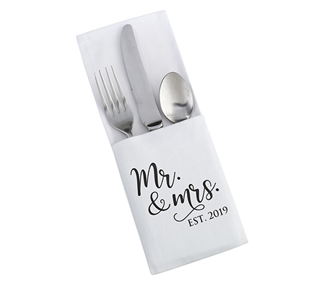 """Mr. & Mrs. Est. 2019"" White and Black Silverware Holder"