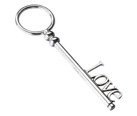 Vintage Silver Love Key Wedding Favor Gift Decor