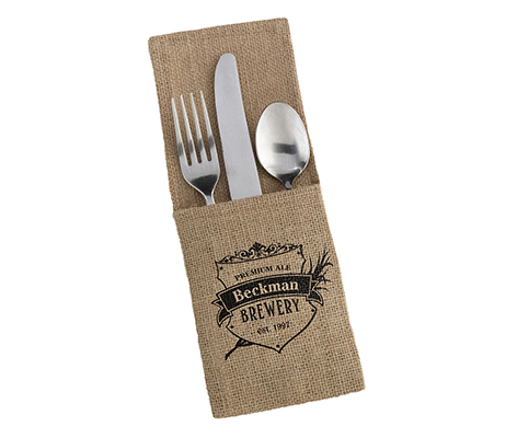 Personalized Set of Burlap Silverware Holders - Crest
