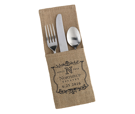 Personalized Vineyard Burlap Silverware Holders
