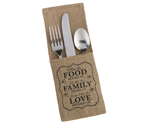 Food and Family Rustic Burlap Silverware Holders