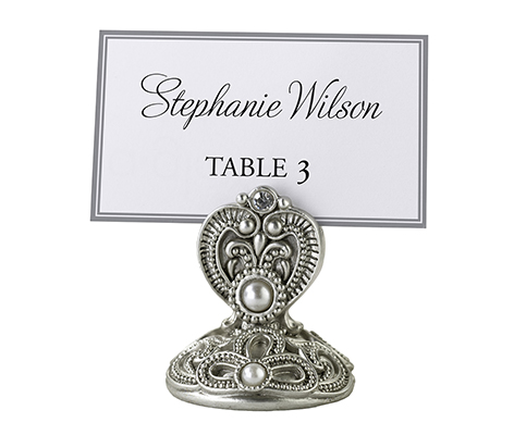Vintage Silver Jeweled Table Marker Holders