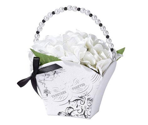 Vintage Black and White Flower Girl Basket
