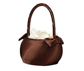 Brown Satin Wedding Flower Girl Basket
