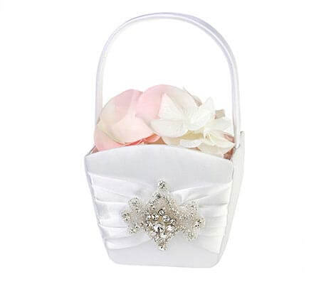 Glamorous Jeweled Rhinestone Flower Girl Basket
