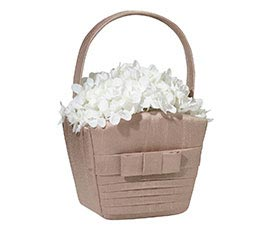 Pleated Silk Taupe Wedding Flower Girl Basket