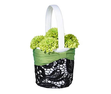 Green Black Wedding Flower Girl Basket