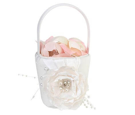Vintage White Rose Wedding Flower Girl Basket