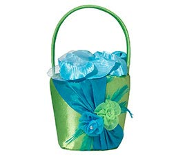 Fancy Blue Green Wedding Flower Girl Basket