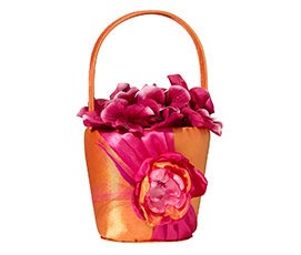 Fancy Hot Pink Orange Wedding Flower Basket