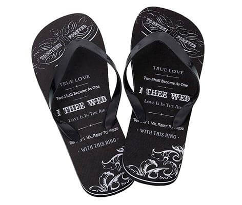 Men's Just Married Imprint Honeymoon Flip Flops