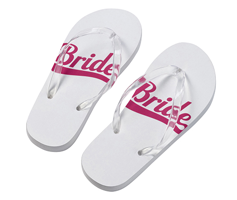 Pink and White Bride Wedding Party Flip Flops