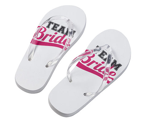 Pink and White Bridesmaid Team Bride Flip Flops