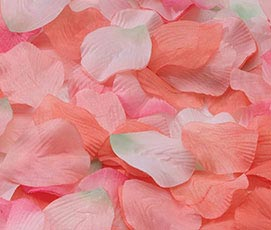 Silk Flower Girl Rose Petals Orange Pink