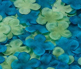 Flower Girl Silk Rose Petals Decor Blue Green