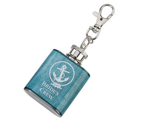 Aqua Mini Flask Bride's Crew Wedding Gift Favor