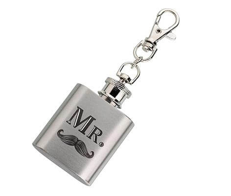 Silver Mini Flask Mr. Mustache Wedding Gift Favor