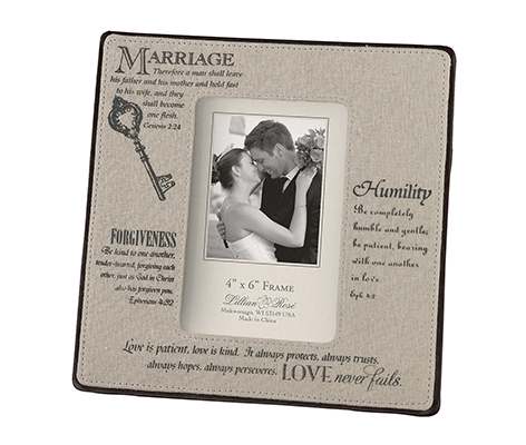 Traditional Marriage Picture Frame 4x6 Decor