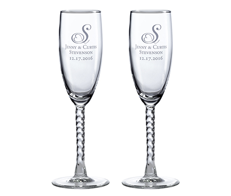 Personalized Monogram Wedding Toasting Glasses