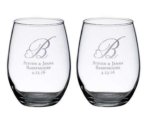 Personalized Set Stemless Wine Glasses Monogram