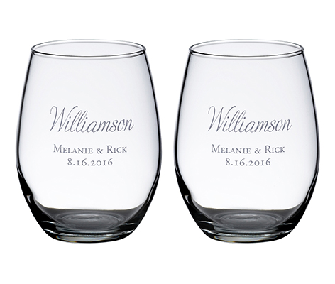 Personalized Set Stemless Wine Glasses Script