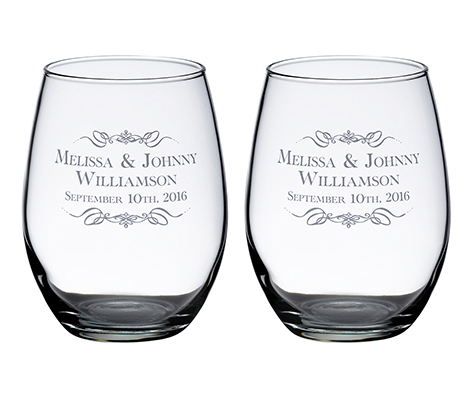 Personalized Set Stemless Wine Glasses Scroll