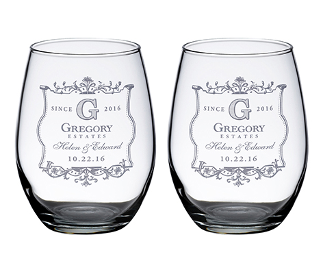 Personalized Set Rustic Stemless Wine Glasses