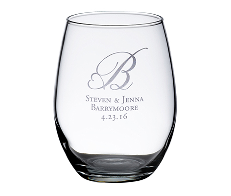 Personalized Single Stemless Wine Glass Monogram