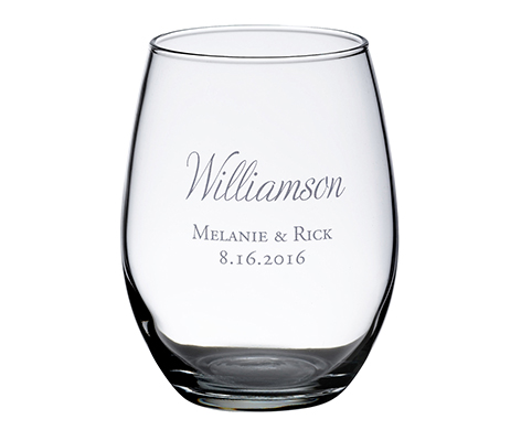 Personalized Single Stemless Wine Glass Script