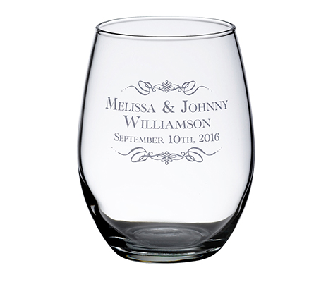 Personalized Single Stemless Wine Glass Scroll
