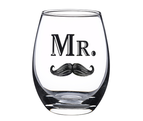 Mr. Groom Wedding Mustache Stemless Wine Glass