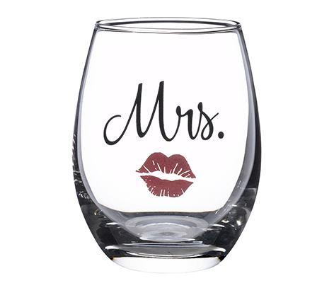 Mrs. Bride Wedding Red Lips Stemless Wine Glass