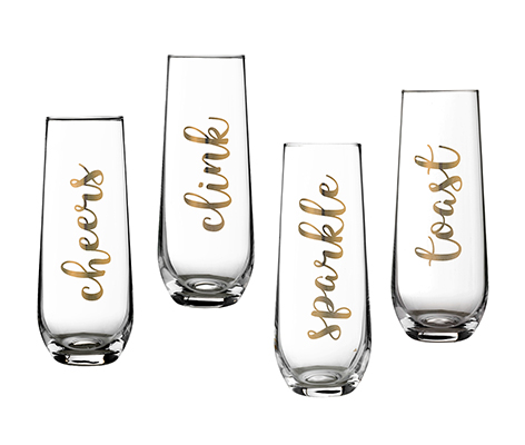 Set of 4 Stemless Champagne Flutes with Gold Celebration Sayings