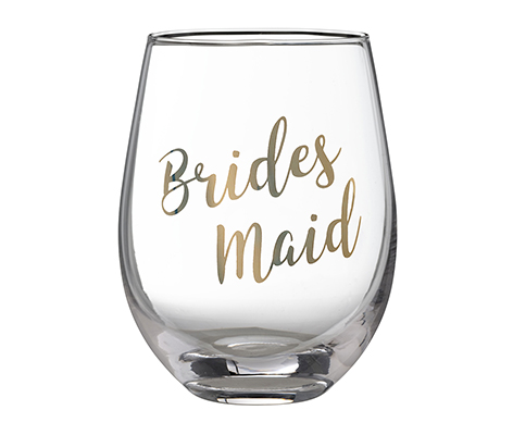 "Gold ""Bridesmaid"" Stemless Wine Glass"