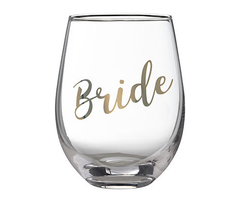Gold Bride Stemless Wine Glass