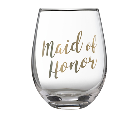Gold Maid of Honor Stemless Wine Glass